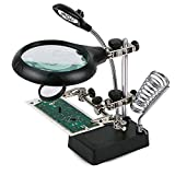 デスクトップの虫眼鏡は、2.5倍7.5倍10倍拡大鏡LEDは趣味手芸プロジェクトのためのクランプとアリゲータークリップとスタンド
