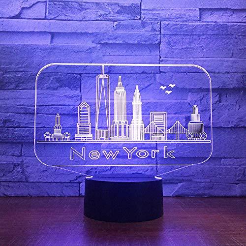 Lámpara Para Dormir 3D Lámpara De Mesa Edificio De La Ciudad De Nueva York Luz Nocturna Lámpara De Mesa De Dormitorio De Atmósfera Led Colorida Lámpara De Mesa Linda De 7 Colores Usb Led