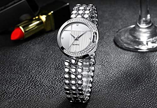 Voigoo Marken-Frauen-Uhren Diamant-Vorwahlknopf-Armband-Armbanduhr for Mädchen Elegante Dame-Quarz-Uhr-Female-Kleid-Uhr