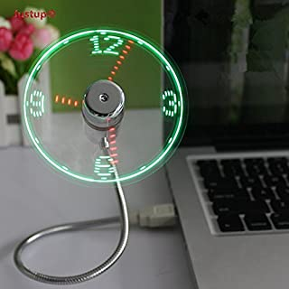 JUSTUP USB LED Clock Fan, Mobile USB-Powered Portable Fan, Portable Cooling Solution, Quiet Mini USB Gooseneck Fan for laptop and PC