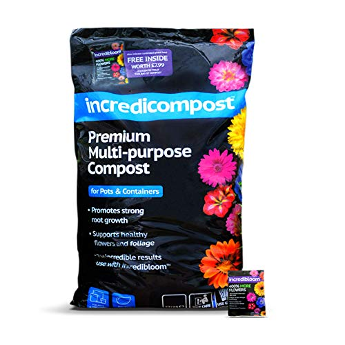 Thompson & Morgan Multi Purpose Garden Compost And Potting Compost Soil For Plants And Flowers | 1 x 70L Bag of Incredicompost Plus 1 x 210g Sachet Of Incredibloom Slow Release Fertiliser Food