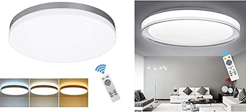 wholesale DLLT 24W and popular 48W Modern Dimmable Led popular Flush Mount Ceiling Light with Remote, for Bedroom/Living Room/Dining Room Lighting, Timing, 3 Light Color Changeable (Bundle-2 Items) outlet online sale