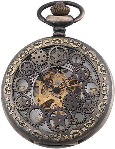 Reloj de bolsillo elegante clásico.Reloj de bolsillo-NOSTALGIC Retro Mecánico Generando Diseño Creativo Dial grabado con números romanos Reloj de bolsillo de la cadena hecha a mano Reloj de hombre con