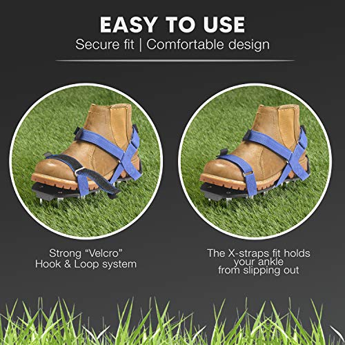 EnvyGreen Lawn Aerator Shoes – Ready-to-Use, Pre-Assembled – One-Size-Fits-All Gardening Shoes – Lawn Core Aerator with X-Strap – Lawn Aerator Spike Shoes for Lawn, Yard, and Roots – Premium Tools