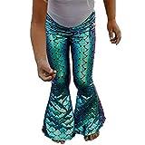 Niña Polainas de Sirena Pantalones de Mallas de Sirena de Escamas de Pescado Pantalones de Lápiz Pantalones Acampanados Suministros de Fiesta de Sirena Favores 0-7 Años (Verde, 6-7 años)