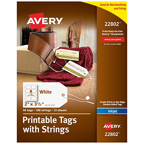 Avery Printable Tags for Inkjet Printers Only, Tags With Strings, 2' x 3.5', 96 Tags (22802)