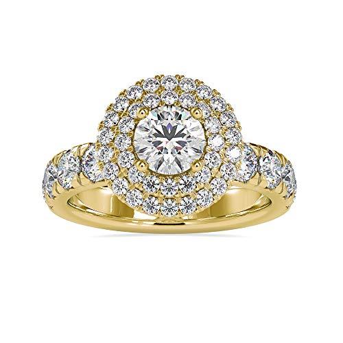 Diamondrensu 10 KT Oro amarillo de 10 quilates round-brilliant-shape Moissanite