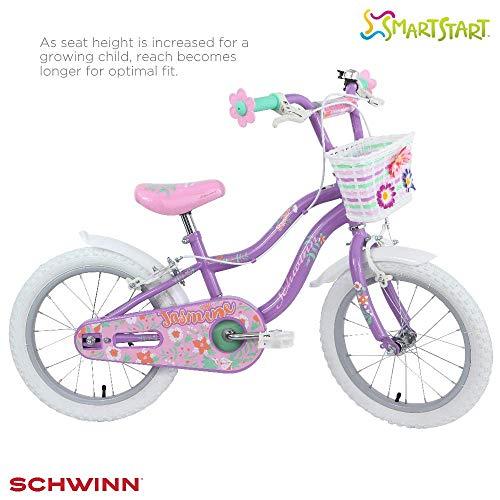 Schwinn Girls' Jasmine Kids Bike, Purple, 16'  (Age 4+)