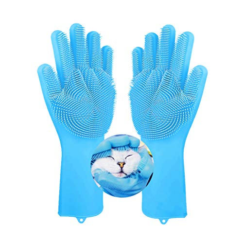 Pet Grooming Glove - Dog Cat Bathing Grooming Gloves Silicone Pet Hair Remover with High Density Teeth Brush for Gentle Efficient Pet Grooming Clean Massage (Blue)