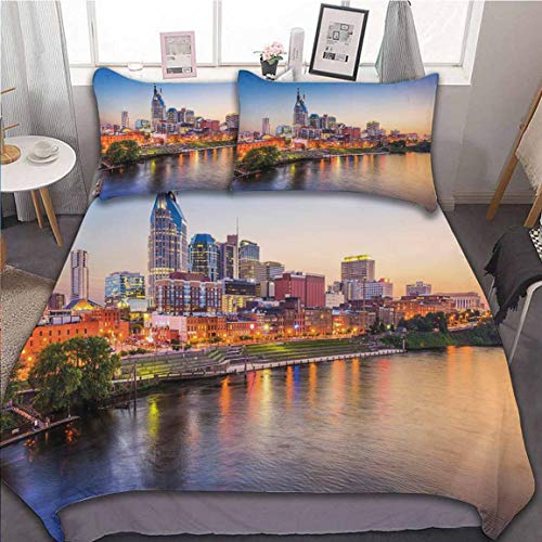 Oobon Duvet Cover Set, Cumberland River Nashville Tennessee Evening Architecture Travel Destination, Comforter Cover with 2 Pillow Shams, 3D Abstract Art Printed Design, 104x90 inch