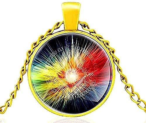CXYCXY Co.,ltd Collar Collar Masónico Cúpula De Vidrio Radiante Collar Clásico De Metal Colgante Retro Hombres Y Mujeres Joyería Regalo Longitud De La Cadena 80Cm