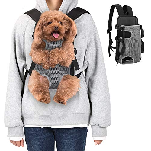 Ownpets Legs Out Front Dog Carrier, Hands-Free Adjustable Pet Carrying Backpack, Ideal for Small & Medium Cat, Dog (M, Grey)