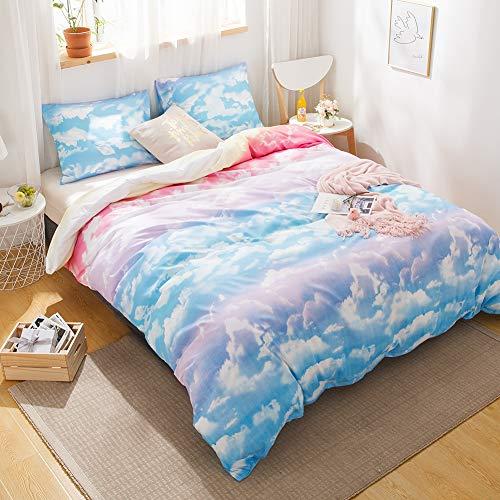 LemonTree Rainbow Bedding Set Sky Clouds Soft Home Duvet Cover Set for Girls,4Pcs-1 Flat Sheet+1 Duvet Cover + 2 Pillowcases,No Fillings