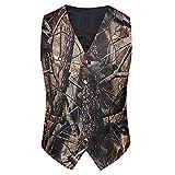 Tailorsun Mens Slim Fit Big Tree Camo Camouflage Vest Prom Wedding Vest (XL Chest:46-48 inches)