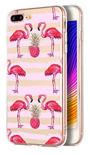 FRenchCase - Carcasa para iPhone 7 Plus y iPhone 8 Plus (5,5), silicona transparente de poliuretano termoplástico flexible, protección antigolpes, antideslizamiento, funda para iPhone 7 Plus y 8 Plus, diseño (Flamante rosa)