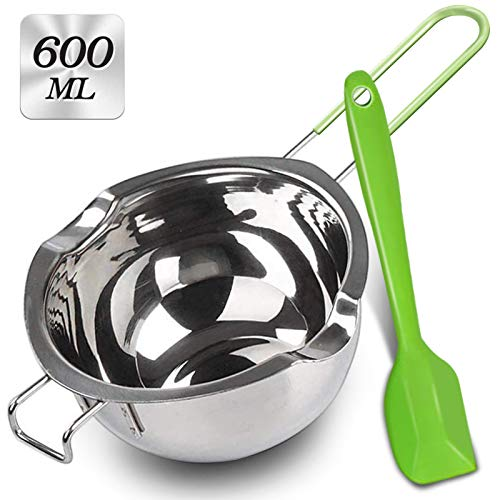 600 ML Double Boiler with Silicone Spatula, Stainless Steel Melting Pot with Heat Resistant Handle for Melting Chocolate, Candy, Candle, Soap and Wax