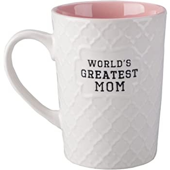 Ynsfree-World's Greatest Mom-16 OZ Coffee And Tea Cups-For mom,lady, wife,Valentine's Day or Anniversary - Birthday Gift Ceramic Office Fun Gifts Deal With White Cute Mugs-Funny Mom Mug