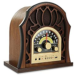 Pyle Retro Speaker Vintage Radio - Classic Style Stereo, Wireless Bluetooth Receiver Speakers, Built-in Full Range Sound System Reproduction, USB, MP3 Player, AM/FM Tuner - PUNP37BT Walnut