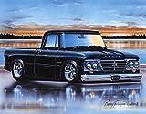 1962-65 Dodge D100 Sweptline Pickup Classic Truck Art Print Black 11x14 Poster