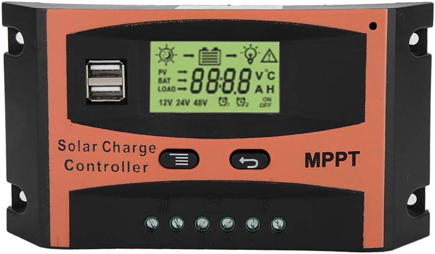 Eurobuy Controlador de Carga Solar 30A / 40A / 50A 12V / 24V Auto Mppt Panel Solar Regulador Dual Usb Pantalla Lcd Controlador de Batería Automático (50A)