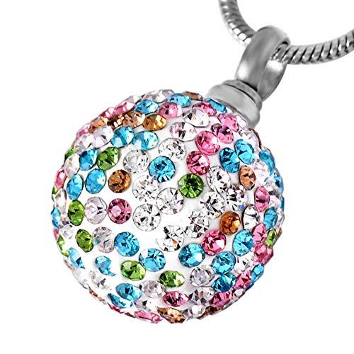 GenericBrands Joyería de cremación de Diamantes de imitación y Cristal para Mujer, Collar de urna de cremación de Acero Inoxidable para Mujer
