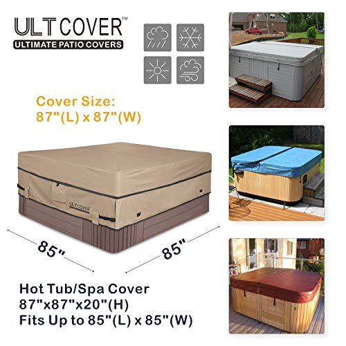 ULTCOVER Waterproof 600D Polyester Square Hot Tub Cover Outdoor SPA Covers 85 x 85 inch