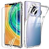 Funda para Huawei Mate 30 Pro + [Cobertura Completa] Protector de Pantalla,Suave TPU Transparente Gel Silicona Anti-caída Anti-arañazos Protectora Carcasa para Huawei Mate...