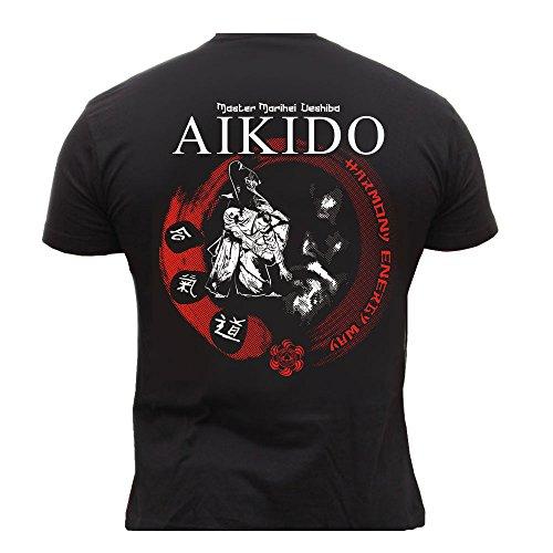 Dirty Ray Arts Martiaux Aikido Master Morihei Ueshiba t-shirt homme DT20 (XXL)