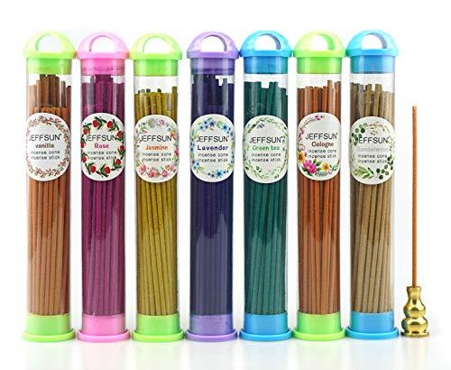350pcs Incense Sticks with 1 Incense Burner Holder and 1 Fire-Resistant Cotton, 7 Kinds Natural Scents Include Lavender, Sandalwood, Colognes, Vanilla, Green Tea, Rose, Jasmine Home Decor Aroma