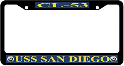 AllCustom4U Black License Plate Frame with Screw Caps, 2 Holes Stainless Steel USS Navy Auto Car License Plate Cover Holder for US Standard