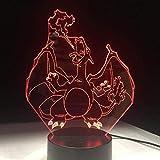 Tatapai Lámpara de ilusión 3D Luz de noche Led Pokemon Charizard Lámpara de escritorio con 7 cambios de color de cumpleaños para niños