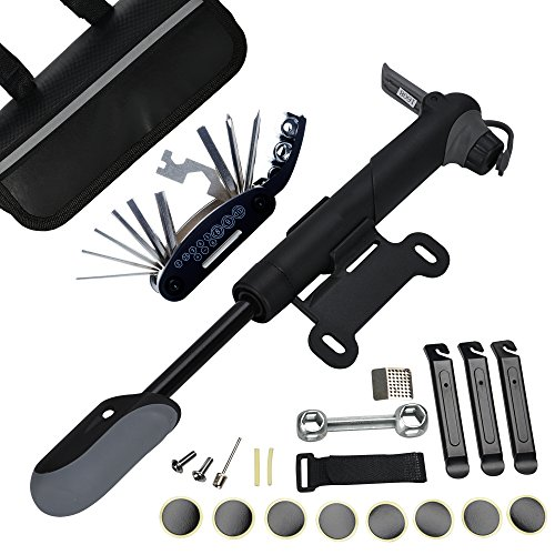 DAWAY A35 Bike Repair Kit - 120 PSI Mini Pump & 16 in 1 Bicycle Multi Tool with Handy Bag Included Glueless Tire Tube Patches & Tire Levers, Practical Gift