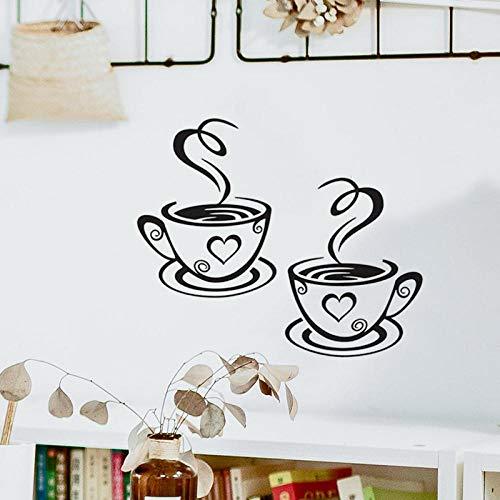 espejo de flores ¡± pared de la decoración de la pared - Un par de pegatinas de pared de fondo de decoración de taza de café