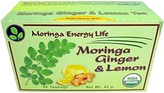 MORINGA ENERGY GINGER & LEMON TEA - USDA Organic 28 Tea Bags, Nature´s Potent Botanical for Nutrients, Vitamins & Minerals