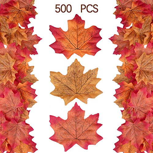 Felice Arts 500 hojas de arce artificiales, varios colores surtidos, otoño, otoño, hojas de colores para bodas, fiestas y decoración