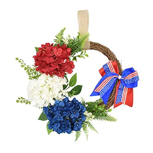 DYNWAVE 15.7 ''American Flag Floral Grinalda Decoração Patriótica Vermelho Azul Branco Floral Artificial Galho Grinalda 4th of July Dia Da Independência