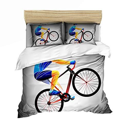 Teen Boy Bedding Set, Bicycle Football Scooter dekbedovertrek kussensloop, Single King Size tweepersoonsbed, comfortabele zachte microvezel dekbedovertrek,01,GB Single140cm×210cm