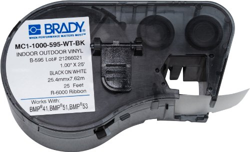 Brady - MC1-1000-595-WT-BK Official (MC-1000-595-WT-BK) High Adhesion Vinyl Label Tape, Black on White - Designed for BMP41, BMP51 and BMP53 Label Printers - 25 Length, 1 Width