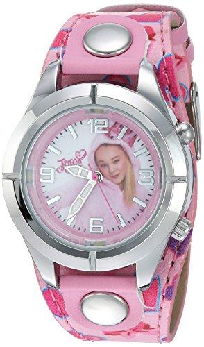 Jojo Siwa Kids' Analog Watch with Silver-Tone Case, Pink Leather Strap, Easy to Buckle - Kids' Watch with JoJo Siwa on the Dial, Safe for Children - Model: JOJ5003