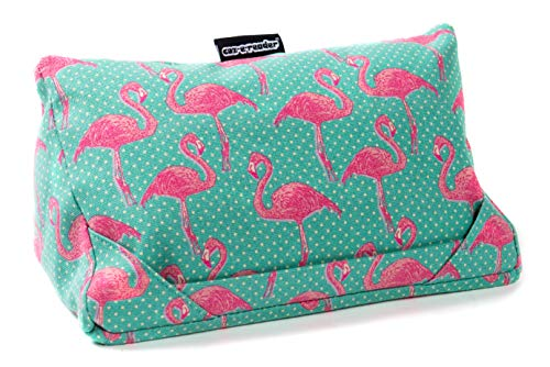 i-pad cushion and tablet pillow in Flamingo Print from coz-e-reader with 2 positions for full screen viewing