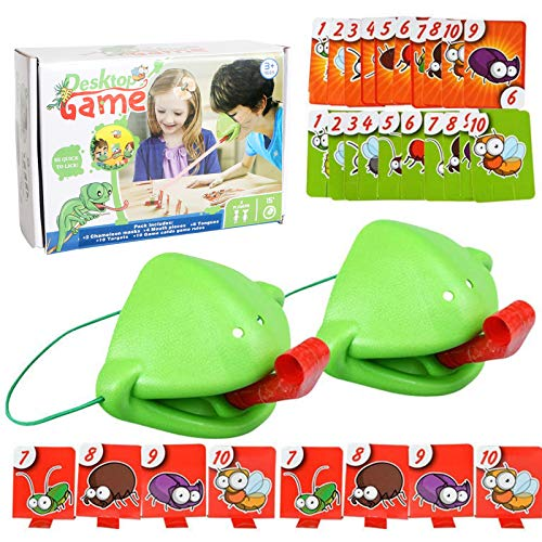 Tic Tac Tongue Catch Bugs Game - Chameleon Sticking Out Tongue, Quick To Lick Cards Toy Set,Joint Take Card-Eat Pest Car Juego Doble Juegos Mesa Escritorio Accesorios Interactivos Para Padres Hijos