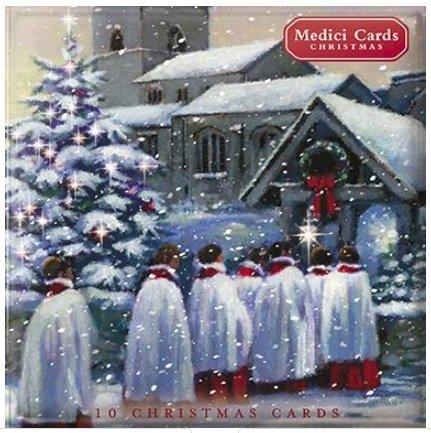 Geïllustreerde kerstkaarten - (MED-XMW 0040) - Koor & Kerk/Dorpskerk - Portemonnee van 10 Kaarten - uit het Medici-bereik