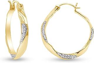 Orecchini a cerchio per donne e ragazze in argento Sterling 925 (oro 18 carati)