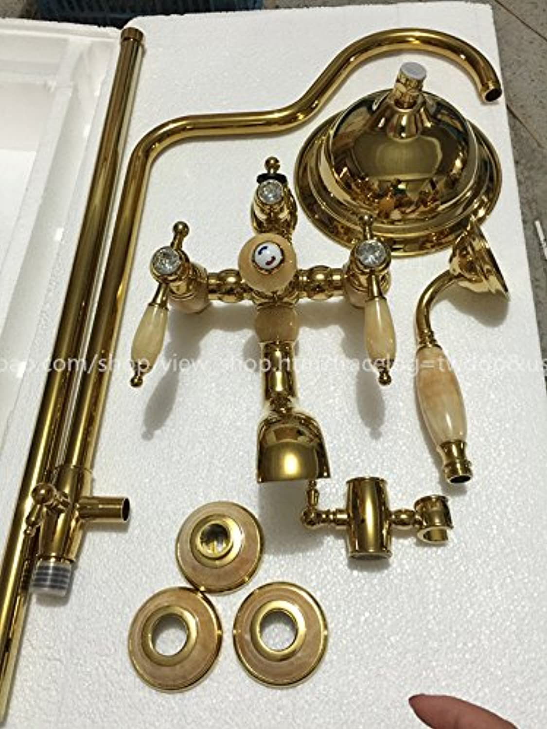SUHANG European Style Gold Natural Jade Shower Set, All Copper Gold-Plated Hot and Cold Taps, Antique Bathroom Shower,