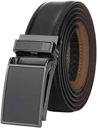 Marino Avenue Men's Genuine Leather Ratchet Dress Belt with Linxx Buckle - Gift Box (Lozenge Pattern - Black, Adjustable from 28' to 44' Waist)