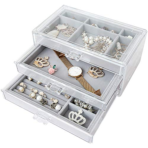 W-J-S Acrylic Jewelry Box Organizer Clear 3 Drawer Gray Velvet Jewelry Storage with Adjustable Dividers for Earrings Rings Necklaces Bracelets Display Case(Size:upgrade)