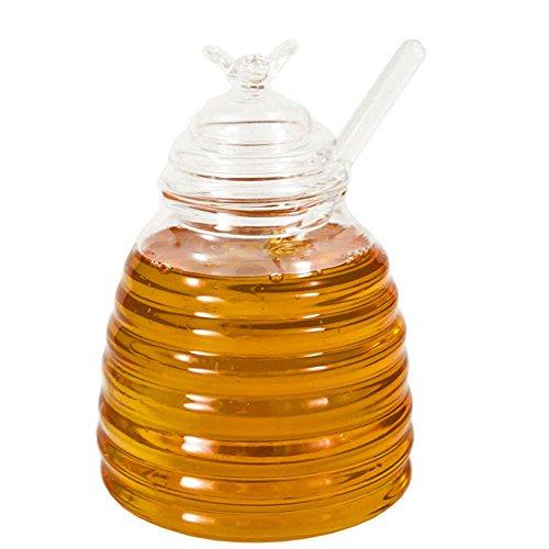 HonigglasHonigdose Honigpot Servierdose Honig, Bienenstock mit Glas-Honigheber/ -löffel, Glas, ca. 500 ml, ca. 10 x 13.5 cm