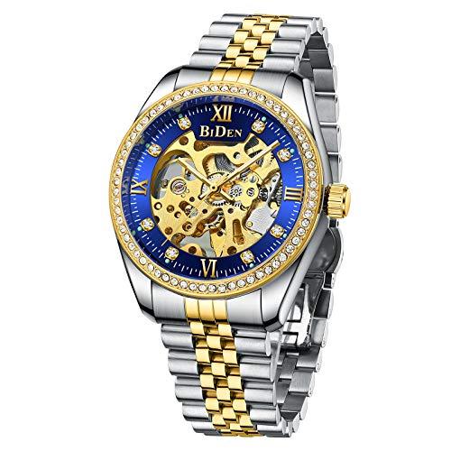 Herren Uhren Automatikuhr Herrenuhr Mechanische Skelett Glasboden Zahlen Diamant Zifferblatt Wasserdicht Schwarz Männer Armbanduhr-Gold Blau