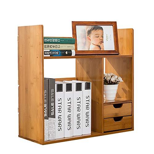 Zgsjbmh Estante de Almacenamiento de la exhibición de la librería Escritorio Extensible de estantería con 2 cajones Escritorio Ajustable Estante de exhibición de Escritorio expansible para la Oficina