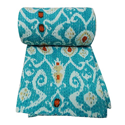 Jeté indien traditionnel Ikat impression Vintage Gudari fait à la main Kantha couette indienne Vintage Bohème literie housse de lit housse de canapé réversible Ikat coton couvre-lit Decor Art (Turquoise, Twin 60*90 Inches)